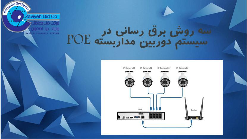 سه روش برق رسانی در سیستم دوربین مداربسته POE